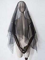 cheap -Two-tier Love / Halloween Wedding Veil Fingertip Veils with Sequin / Trim Tulle / Drop Veil