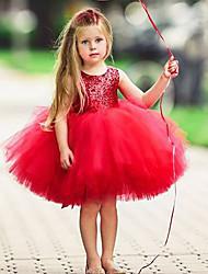 Недорогие -Дети Дети (1-4 лет) Девочки Активный Классический Однотонный Рождество Без рукавов Платье Светло-синий