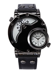 cheap -Oulm Men's Wrist Watch Quartz Leather Black / Brown Dual Time Zones Moon Phase Cool Analog Fashion Steampunk - White Black Coffee One Year Battery Life / Jinli 377