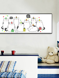 cheap -Framed Canvas Framed Set - Animals Cartoon Plastic Illustration Wall Art