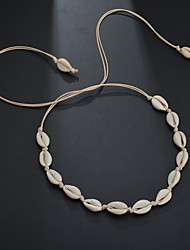 cheap -Women's Long Necklace Braided Shell Puka Shell European Trendy Ethnic Fashion Chrome Shell White Black 90 cm Necklace Jewelry 1pc For Carnival Holiday Street Festival