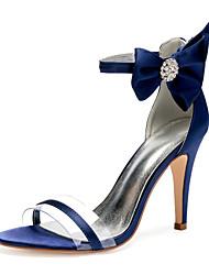 cheap -Women's Wedding Shoes High Heel Open Toe Wedding Sandals Wedding Party & Evening Satin PVC Rhinestone Satin Flower Solid Colored White Black Purple
