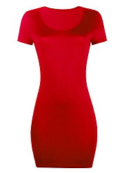 cheap -Women's Wine Red Dress Basic Summer Daily Bodycon Solid Colored S M Slim