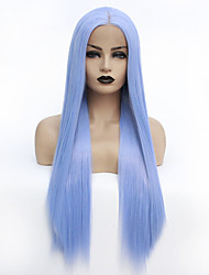 cheap -Synthetic Lace Front Wig Straight Middle Part Lace Front Wig Long Sky Blue Synthetic Hair 22-26 inch Women's Heat Resistant Women Hot Sale Blue / Glueless