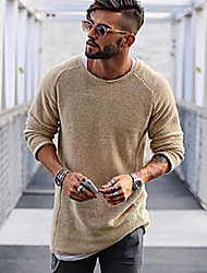 cheap -Men's Daily Solid Colored Long Sleeve Regular Pullover Sweater Jumper Black / Light Brown / White M / L / XL