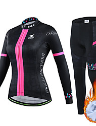 cheap -cheji® Women's Long Sleeve Cycling Jersey with Tights Winter Fleece Spandex Pink Green Silver Bike Clothing Suit Thermal Warm Fleece Lining Breathable Quick Dry Sports Mountain Bike MTB Road Bike
