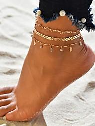 abordables -Femme Bracelet de cheville bijoux de pieds Multirang Tropical Plaqué or Bracelet de cheville Bijoux Dorée Pour Mariage Fiançailles Plein Air Bikini Festival / 3pcs