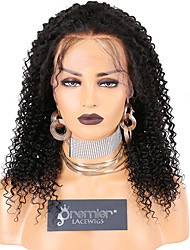 cheap -Unprocessed Virgin Hair Lace Front Wig Deep Parting style Indian Hair Kinky Curly Natural Wig 130% Density with Baby Hair with Clip With Bleached Knots Women's Long Medium Length Very Long Human Hair