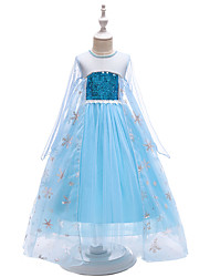 cheap -Kids Toddler Girls' Active Sweet Party Solid Colored Sequins Long Sleeve Maxi Dress Blue