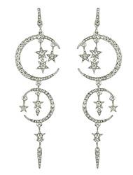 cheap -Women's Drop Earrings Chandelier Moon Star Stylish Luxury Imitation Diamond Earrings Jewelry Black / Silver For Daily Date 1 Pair