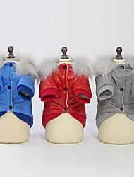 abordables -Chiens Manteaux Veste Hiver Vêtements pour Chien Rouge Bleu Gris Costume Coton simple Garder au chaud Guêtres S M L XL XXL