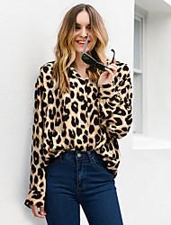 cheap -2019 New Arrival Shirts Women's Plus Size Cotton Shirt - Leopard V Neck Black Camisas Mujer Chemise Femme XXL