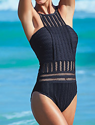 cheap -Normal Polyester Swimwear & Bikinis Sexy Solid Colored Daily Wear Hollow-out