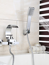 cheap -Shower Faucet / Bathtub Faucet - Contemporary Chrome Wall Mounted Ceramic Valve Bath Shower Mixer Taps