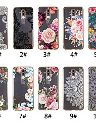 cheap -Case For Huawei Mate 10 lite / Huawei Mate 20 lite / Huawei Mate 20 pro Transparent / Pattern Back Cover Lace Printing / Flower Soft TPU
