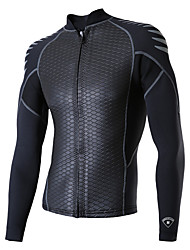 cheap -Men's Wetsuit Top Wetsuit Jacket 2mm CR Neoprene Top Thermal / Warm UV Sun Protection Ultraviolet Resistant Long Sleeve Front Zip - Snorkeling Wakeboarding Water Sports Solid Colored Spring Summer