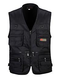 cheap -Men's Hiking Vest / Gilet Fishing Vest Winter Outdoor Lightweight Breathable Wear Resistance Multi Pocket Vest / Gilet Top Single Slider Camping / Hiking Hunting Fishing Black / Army Green / Red