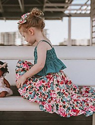 cheap -Kids Toddler Girls' Clothing Set Floral Sleeveless Patchwork Cotton Daily Green Active Boho Short