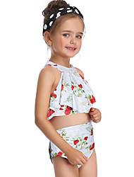 abordables -Enfants Bébé Fille Basique Le style mignon Sports Plage Fleur A Volants Imprimé Sans Manches Maillot de Bain Blanche