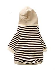 abordables -Chiens Manteaux Pulls à capuche Vêtements pour Chien Noir Marron Noir / Blanc Costume Coton Rayure A Rayures Style Simple XS S M L XL XXL