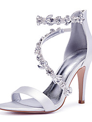 cheap -Women's Wedding Shoes Glitter Crystal Sequined Jeweled Stiletto Heel Round Toe Basic Wedding Party & Evening Satin Crystal Solid Colored Summer White Black Purple