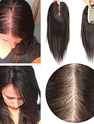 cheap -Laflare Clip In / On Toupee Human Hair Extensions Straight Human Hair Extension Human Hair Extensions Hair Piece Brazilian Hair 1 Piece Fashionable Design Soft Best Quality Women's Natural Black