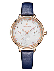 cheap -NAVIFORCE Women's Dress Watch Wrist Watch Japanese Japanese Quartz Genuine Leather Black / Blue / Red 30 m Water Resistant / Waterproof Calendar / date / day Casual Watch Analog Casual Fashion - Red