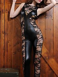cheap -Women's Mesh Sexy Teddy Nightwear Solid Colored Black L XL XXL
