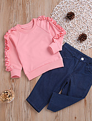 cheap -Kids Girls' Clothing Set Daily Wear Festival Dusty Rose Solid Colored Ruffle Long Sleeve Basic Streetwear Regular Regular Blushing Pink