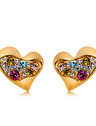 cheap -Women's Multicolor Crystal Stud Earrings Classic Heart Romantic Modern Cute Gold Plated Imitation Diamond Earrings Jewelry Gold For Daily Formal Office & Career 1 Pair