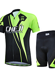 cheap -cheji® Boys' Girls' Short Sleeve Cycling Jersey with Shorts - Kid's Green Bike Clothing Suit Breathable Quick Dry Sports Lycra Mountain Bike MTB Road Bike Cycling Clothing Apparel / High Elasticity
