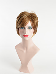 cheap -Synthetic Wig Curly Asymmetrical Wig Short Golden Brown Synthetic Hair 6 inch Women's Cosplay Party Brown
