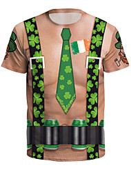 cheap -Elf Masquerade Adults' Men's Halloween Carnival St Patricks Day Festival / Holiday Polyster Coffee Men's Women's Easy Carnival Costumes 4 Leaf Shamrock Novelty / T-shirt / T-shirt
