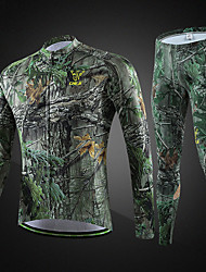 cheap -cheji® Men's Long Sleeve Cycling Jersey with Tights Camouflage Bike Bib Shorts Clothing Suit Breathable Quick Dry Sports Lycra Mountain Bike MTB Road Bike Cycling Clothing Apparel / High Elasticity