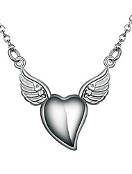 cheap -Women's Clear Pendant Necklace Chain Necklace Necklace Rolo Heart Angel Wings Simple Basic Romantic Fashion Silver Plated Silver 46 cm Necklace Jewelry 1pc For Gift Daily Evening Party Date Work