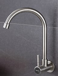 cheap -Kitchen faucet - Single Handle One Hole Standard Spout / Tall / ­High Arc Wall Mounted Contemporary Kitchen Taps / Stainless Steel