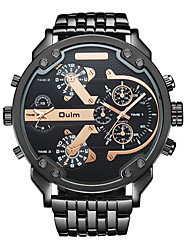 cheap -Oulm Men's Wrist Watch Quartz Oversized Camouflage Dual Time Zones Stainless Steel Black / Gold Analog - Golden Black / Rose Gold White One Year Battery Life / Japanese / Large Dial / Japanese