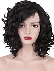 Недорогие -Парики из искусственных волос Афро Квинки Стиль Ассиметричная стрижка Без шапочки-основы Парик Черный Искусственные волосы 12INCH Жен. Регулируется Жаропрочная синтетический Черный Парик Короткие