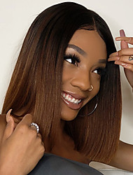 cheap -Synthetic Wig Natural Straight Bob Middle Part Lace Front Wig Ombre Medium Length Ombre Black / Medium Auburn Synthetic Hair 14inch Women's New Dark Roots For Black Women Dark Brown Ombre