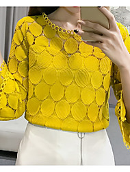 cheap -2020 Hot Sale Blouses Women's Slim Blouse - Solid Colored Lace Blusas Mujer De Moda Roupa Feminina / Hollow White XL / Spring / Summer / Fall / Winter
