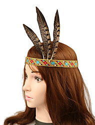 cheap -American Indian Headpiece Kid's Bohemian Style Women's Coffee Resin / Feather / Fabric Party Cosplay Accessories Halloween / Carnival / Masquerade Costumes / Female