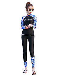 cheap -BANFEI Women's Rash Guard Dive Skin Suit Diving Suit Thermal / Warm UV Sun Protection Full Body 2-Piece - Swimming Surfing Water Sports Floral Botanical Autumn / Fall Spring Summer / High Elasticity