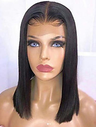cheap -Human Hair Lace Front Wig Bob Short Bob Middle Part style Brazilian Hair Silky Straight Black Wig 130% Density with Baby Hair Natural Hairline For Black Women 100% Virgin 100% Hand Tied Women's Short
