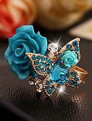 cheap -Women's Adjustable Ring 1pc Black Green Blue Resin Imitation Diamond Alloy Victorian Wedding Causal Jewelry Sculpture Cool