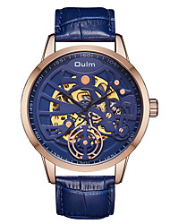 cheap -Oulm Men's Mechanical Watch Automatic self-winding Genuine Leather Black / Blue / Brown 30 m Water Resistant / Waterproof Hollow Engraving Cool Analog Fashion Skeleton - Black Coffee Blue One Year