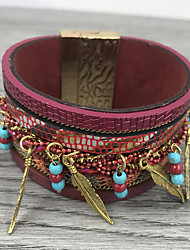 cheap -Women's Layered Charm Bracelet Leather Bracelet - Leather Unique Design, Boho Bracelet Jewelry Coffee / Red / Green For Party Graduation Gift Daily
