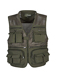 cheap -Men's Hiking Vest / Gilet Fishing Vest Outdoor Lightweight Breathable Quick Dry Wear Resistance Top Mesh Single Slider Fishing Outdoor Exercise Army Green / Blue / Khaki / Multi Pocket