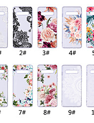 cheap -Case For Samsung Galaxy S9 / S9 Plus / S8 Plus Transparent / Pattern Back Cover Lace Printing / Flower Soft TPU