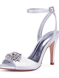 cheap -Women's Wedding Shoes High Heel Open Toe Wedding Sandals Wedding Party & Evening Satin Rhinestone Crystal Solid Colored White Black Purple