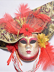 cheap -Feather Venetian Mask Masquerade Mask Half Mask Inspired by Cosplay Venetian Red Blue Halloween Halloween Carnival Masquerade Adults' Women's Female